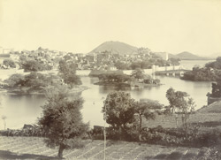 The Lake and a part of the city, Udaipur. From the north